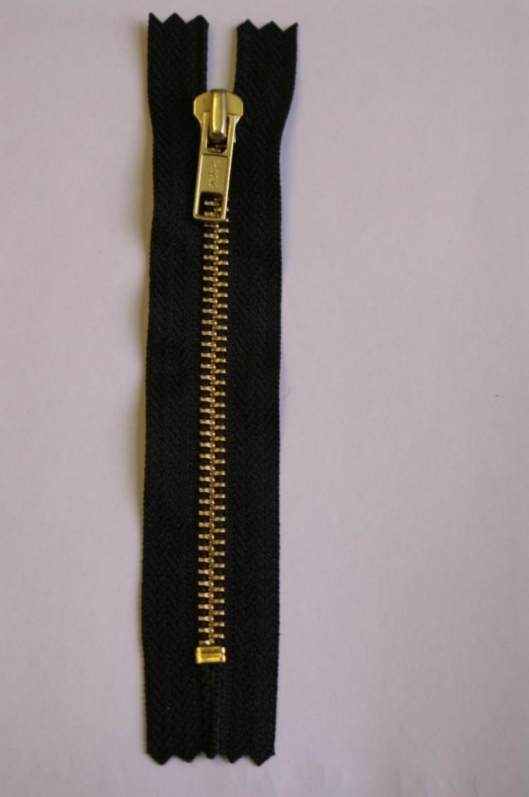 "Zipper Zip 7/""//18cm Closed End,Metal YKK Black Oxy on Black Heavyweight"